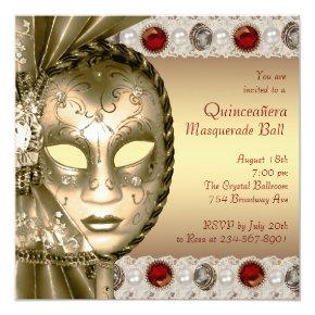 Elegant Red and Gold Masquerade Party Invitations