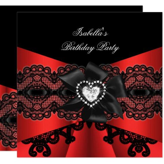 elegant red black lace diamond bow birthday party invitations