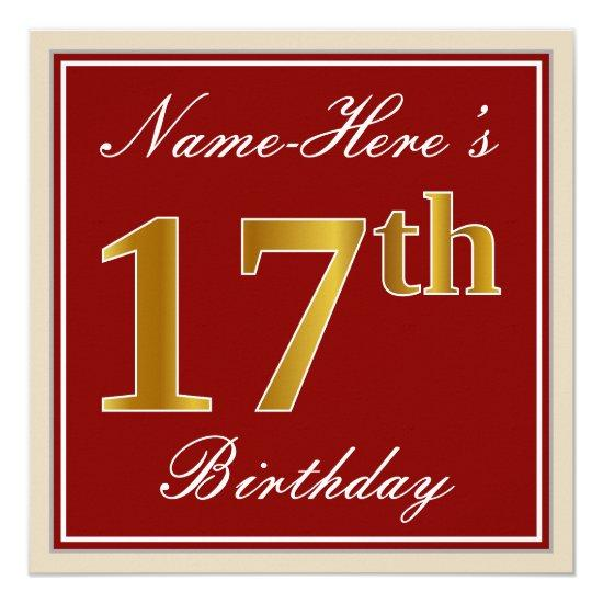 Elegant Red Faux Gold 17th Birthday Custom Name Card Candied Clouds