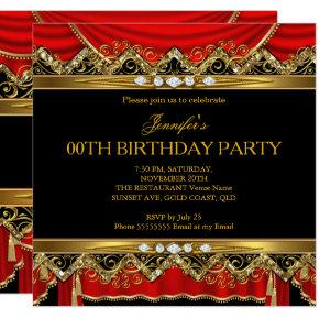 Elegant Red Faux Gold Silk Black Diamond Invite