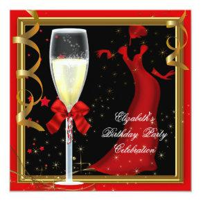 Elegant Red Gold Black Birthday Party Champagne Invitations