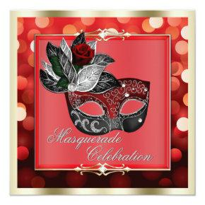 Elegant Red Shimmering Lights Bokeh Masquerade Invitations