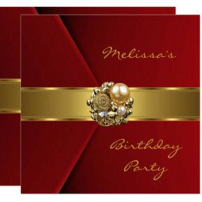 Elegant Red Velvet gold jewel Invitation