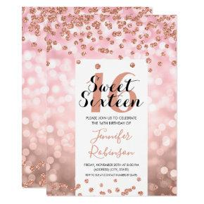 Elegant Rose Gold Blush Glitter Sweet 16 Invitation
