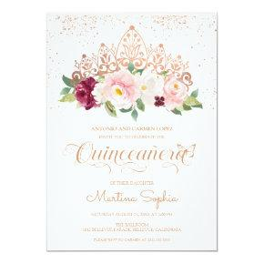 Elegant Rose Gold Butterfly & Tiara Quinceanera Invitation