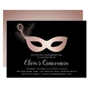 Elegant Rose Gold Masquerade Theme Quinceanera Invitation