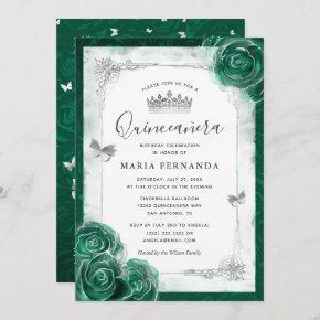 Elegant Rose Silver Green Quinceanera Invitation