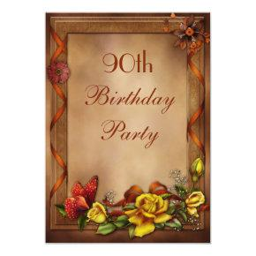 Elegant Roses & Butterfly 90th Birthday Party Invitations