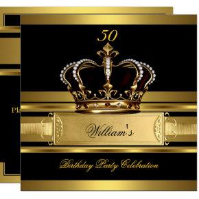 Elegant Royal Black Gold Birthday Prince King 2 Invitations