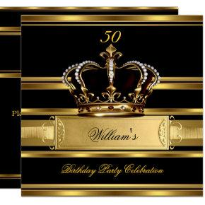 Elegant Royal Black Gold Birthday Prince King 2a Invitations
