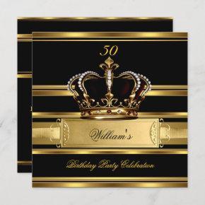 Elegant Royal Black Gold Birthday Prince King 2a Invitation