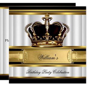 Elegant Royal Black Gold Birthday Prince King 2B Invitations