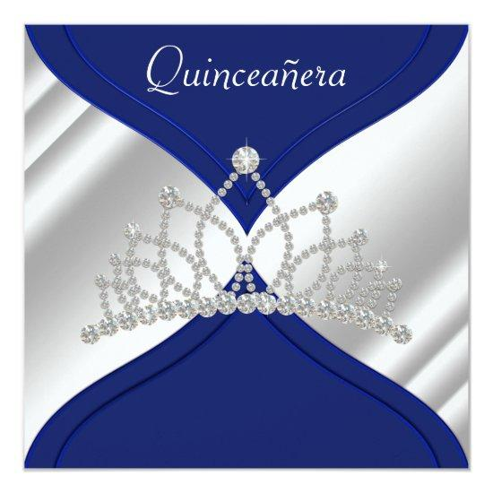 Elegant Royal Blue Quinceanera Invitations Candied Clouds