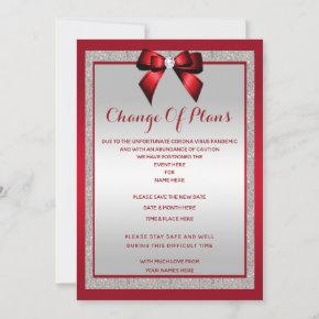 Elegant Ruby Red & Silver Glitter Change of plan Save The Date