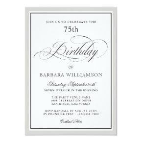 Elegant Script 75th Birthday Party Invitation