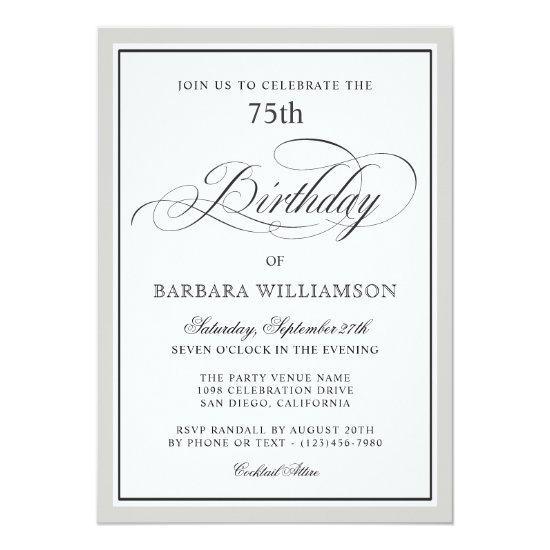 Elegant script 75th birthday party invitations candied clouds elegant script 75th birthday party invitations filmwisefo
