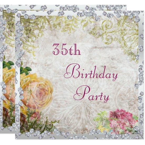 Elegant Shabby Chic Roses Diamonds 35th Birthday Invitations