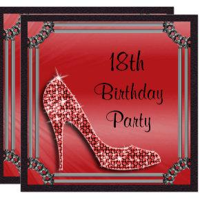 Elegant Silver Framed Red Stiletto 18th Birthday Invitation