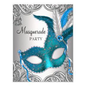 Elegant Silver Teal Blue Masquerade Party Invitation