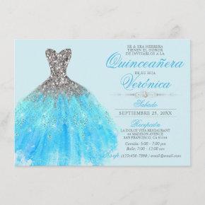 Elegant Spanish Quinceañera Mis Quince Blue Invitation