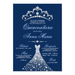 Elegant Spanish Quinceañera Mis Quince Navy Blue Invitation