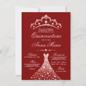 Elegant Spanish Quinceañera Mis Quince Pink Invita Invitation