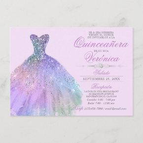 Elegant Spanish Quinceañera Mis Quince Purple Invitation