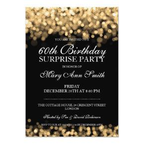 Elegant Surprise Birthday Party Gold Lights Invitations