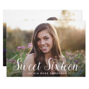 Elegant Sweet 16 2-sided Photo Birthday Party Invitation