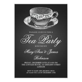 Elegant Tea Party Vintage Tea Cup Black Card