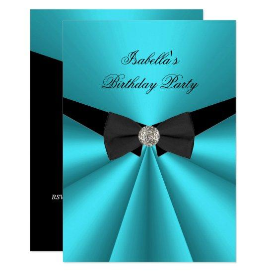 Elegant teal black bow tie birthday party diamond invitations elegant teal black bow tie birthday party diamond invitations filmwisefo