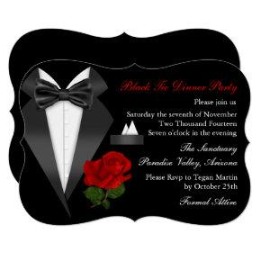 Elegant Tux & Rose Black Tie Dinner Party Invite