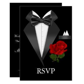 Elegant Tux & Rose Black Tie Party RSVP Card