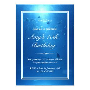 Elegant Underwater Sea Theme Birthday Party Invite