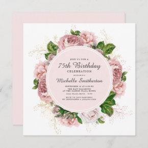 Elegant Vintage Blush Pink Floral 75th Birthday Invitation
