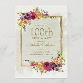Elegant Vintage Floral Women's 100th Birthday Invitation