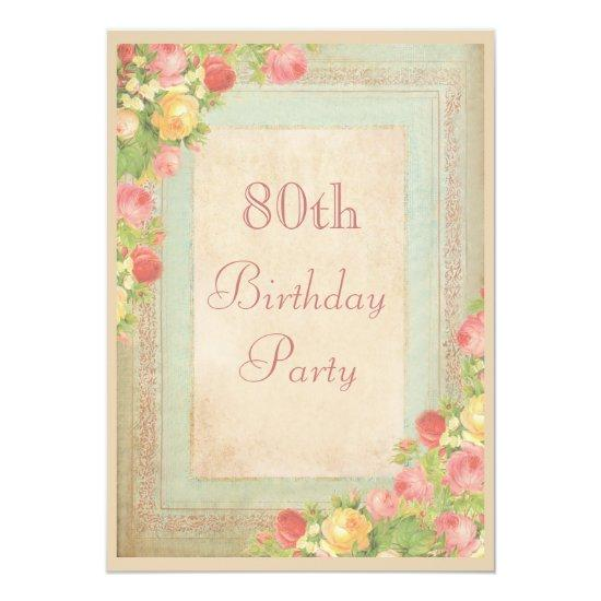 Elegant Vintage Roses 80th Birthday Party Invitations