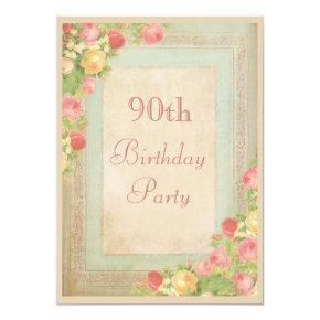 Elegant Vintage Roses 90th Birthday Party Invitation