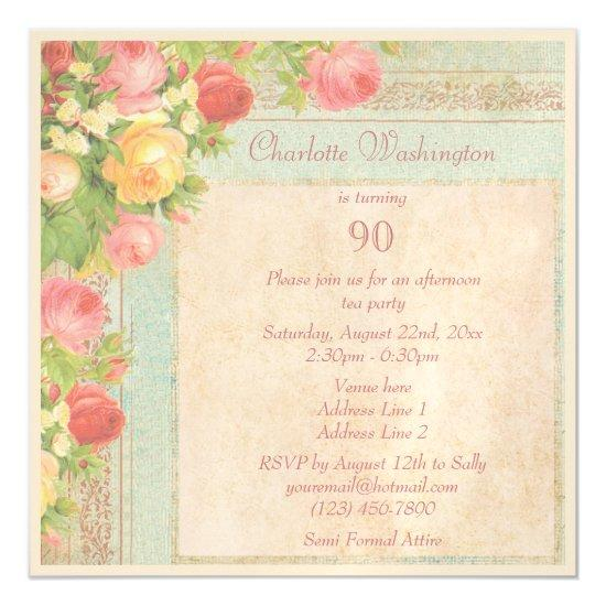 Elegant vintage roses 90th birthday party magnetic invitations elegant vintage roses 90th birthday party magnetic invitations filmwisefo