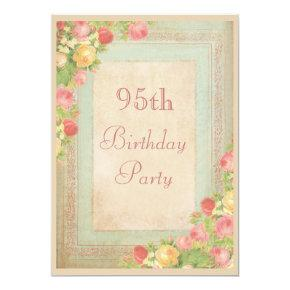 Elegant Vintage Roses 95th Birthday Party Invitation