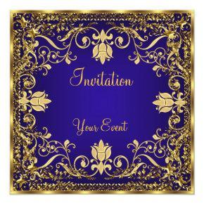 Elegant vintage Royal Blue Gold Invitation