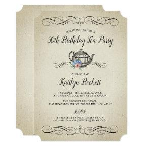 Victorian Tea Party Birthday Invitations Candied Clouds