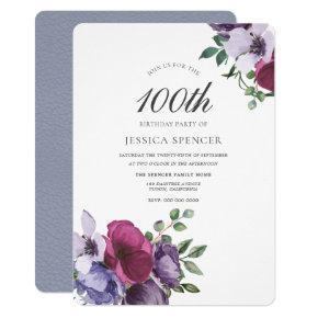 Elegant Watercolor Floral 100th Birthday Invite
