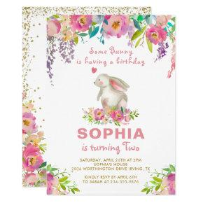 Elegant Watercolor Pink Floral Some Bunny Birthday Invitation