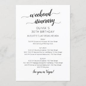 Elegant Weekend Birthday Itinerary Invitation