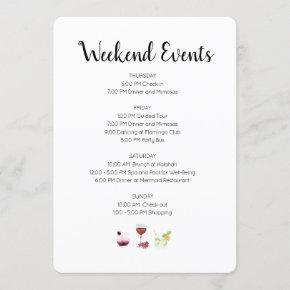 Elegant Weekend Events Itinerary Invitation