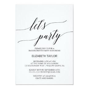 Elegant White and Black Calligraphy Let's Party Card