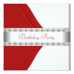 Elegant White and Red Womans Birthday Party Invitation