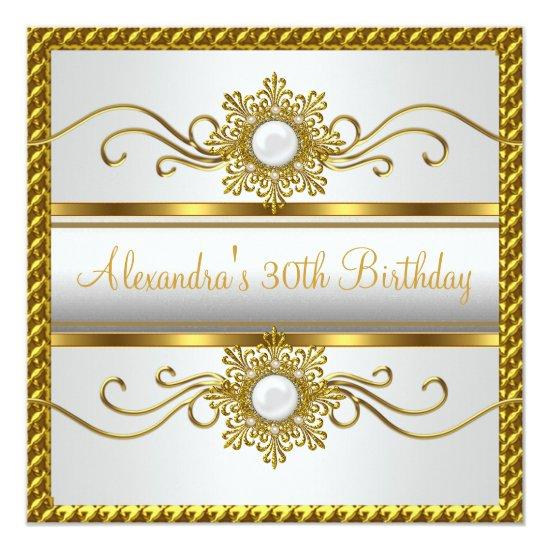 Elegant White Gold Frame Jewel 30th Birthday Invitations – Candied ...