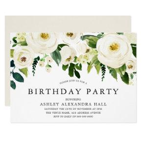 Elegant White Roses All Years Birthday Party Invitation